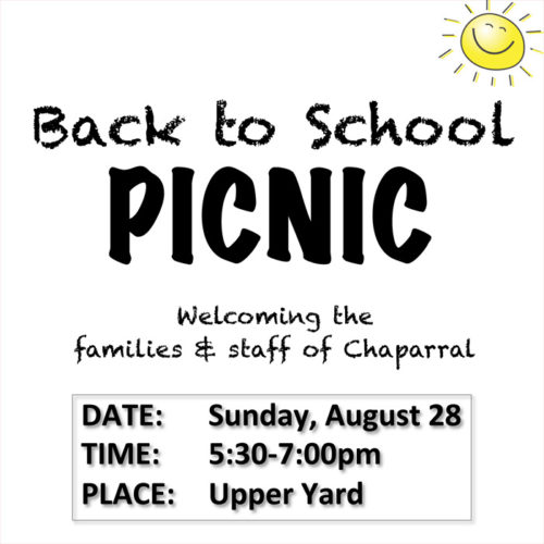 Save The Date: Back to School Picnic